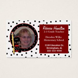 Ladybug Teacher's Photo Business Card