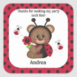 Ladybug Teddy Bear Birthday Thank You Square Stickers