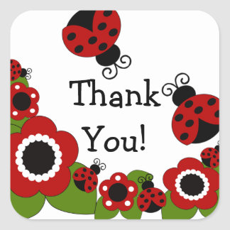 Ladybug Thank You Birthday Square Sticker! Square Sticker