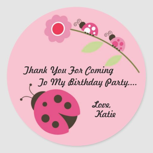 Ladybug Thank You Sticker - Pink and Green