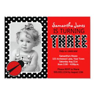 "Ladybug Third Birthday Party 4.5"" X 6.25"" Invitation Card"