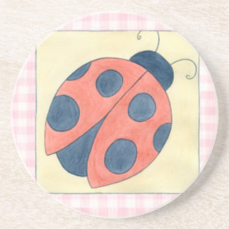 Ladybug Trio Landing on Flowers Coaster