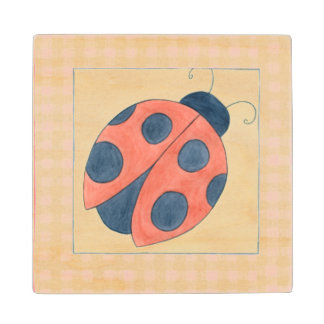 Ladybug Trio Landing on Flowers Wood Coaster