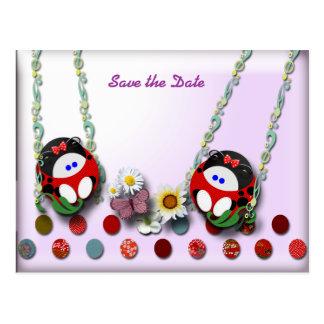 Ladybug Twin Babies Postcard