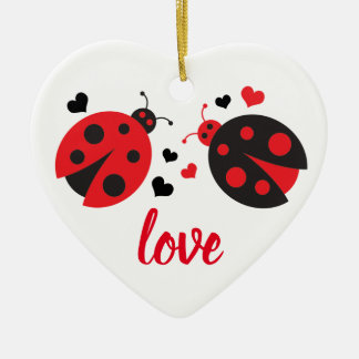 Ladybug Valentine Love Heart Ornament