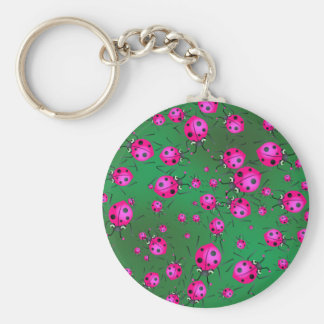 Ladybug Wallpaper Basic Round Button Key Ring