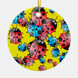 Ladybug Wallpaper Christmas Ornament
