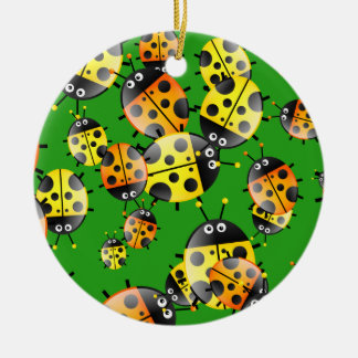 Ladybug Wallpaper Round Ceramic Decoration