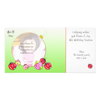 Ladybug Wishes Christmas card Personalized Photo Card