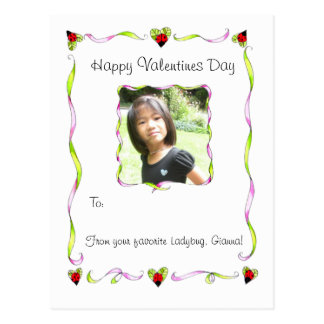 Ladybug wishes Valentines postcard