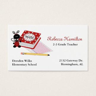 Ladybug with Book Teacher's Business Card