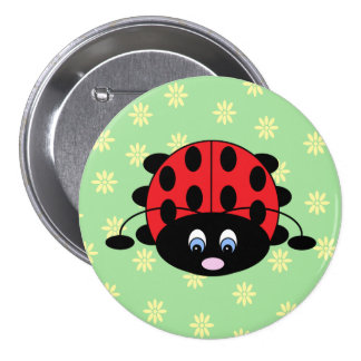 Ladybug with Flowers Button