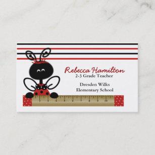 Ladybug business cards zazzle uk ladybug with ruler teachers business card reheart Gallery