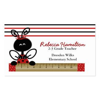 Ladybug with Ruler Teacher's Business Card