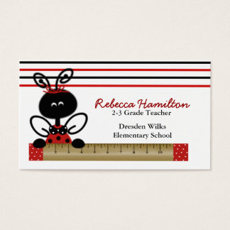 Ladybug with Ruler Teacher's Business Card