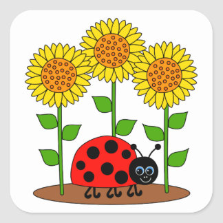 Ladybug with Sunflowers Square Sticker
