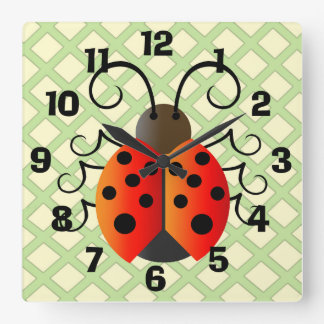 Ladybug with Trellis Square Wall Clock