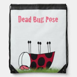 Ladybug Yoga Pose Drawstring Backpack