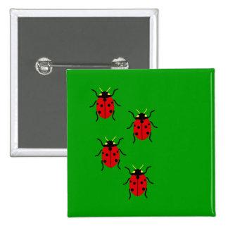 Ladybugs 15 Cm Square Badge