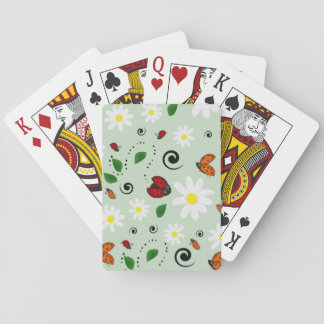 Ladybugs and Daisies in Green Poker Deck
