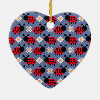 Ladybugs and Daisies Pattern Christmas Ornament