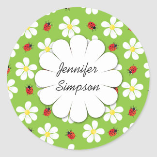 Ladybugs and Daisies Personalised Sticker