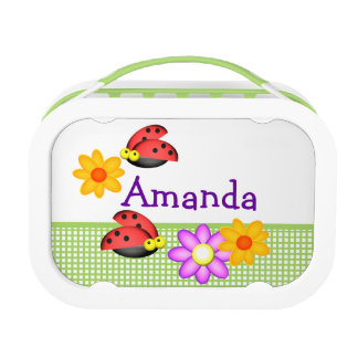 Ladybugs and Flowers Personalized Lunch Box