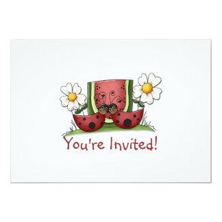 Ladybugs and Watermelon Birthday Party Invitation