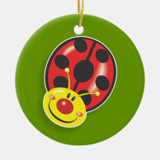 Ladybugs- Any Colour Background Round Ceramic Decoration