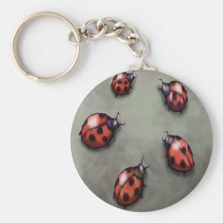 Ladybugs Basic Round Button Key Ring