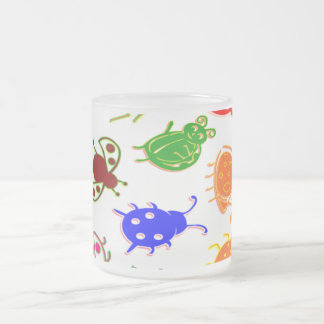 Ladybugs - Colorful 10 Oz Frosted Glass Coffee Mug