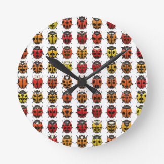Ladybugs colorful pattern round clock