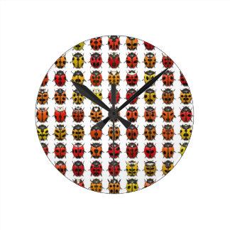 Ladybugs colorful pattern wallclock