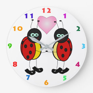 LADYBUGS & HEART Kids Wall Clock