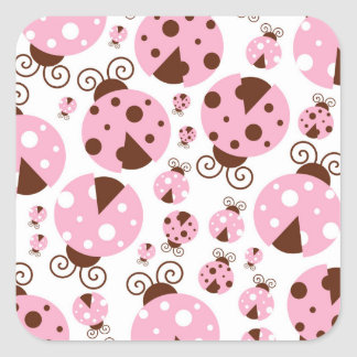 Ladybugs (Ladybirds, Lady Beetles) - Pink Brown Square Sticker