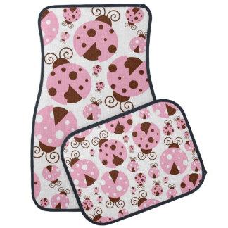 Ladybugs (Ladybirds, Lady Beetles) - Pink Brown Car Mat