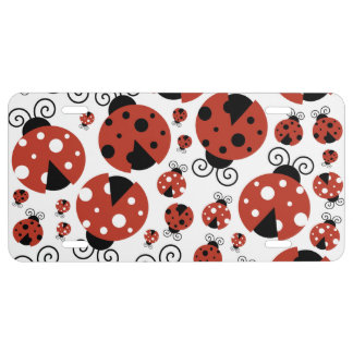 Ladybugs (Ladybirds, Lady Beetles) - Red Black License Plate
