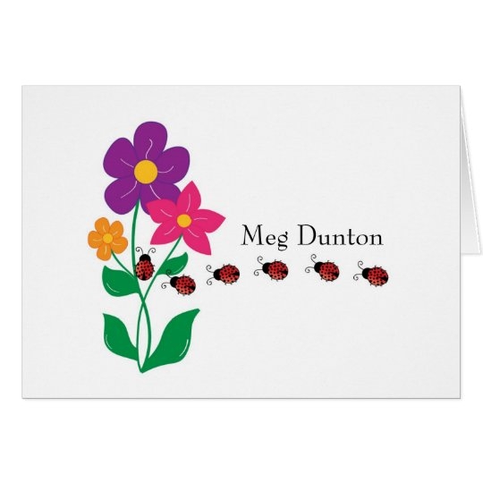 Ladybugs with Flower Personalised Stationary Card