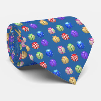 Ladybugs with nice floral and blue background tie
