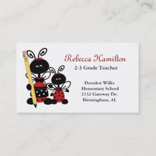 Ladybug business cards zazzle uk ladybugs with pencil teachers business card reheart Gallery