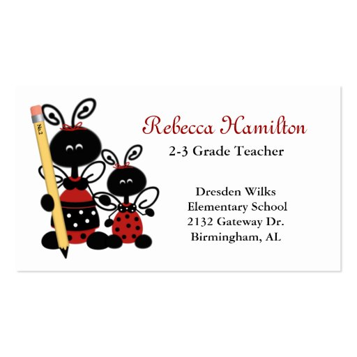 Collections of teachers business card business cards ladybugs with pencil teachers business card reheart Image collections