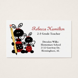 Ladybugs with Pencil Teacher's Business Card