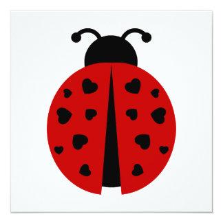 ladybugz. 13 cm x 13 cm square invitation card