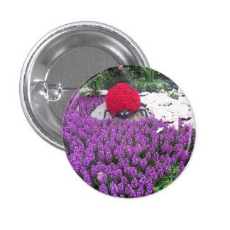 LadyLUCK LADYbug Flowers Purple Butterfly Garden 3 Cm Round Badge