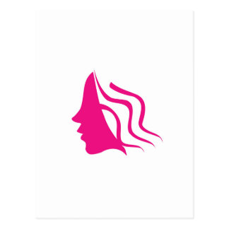 Lady's face silhouette in pink postcard