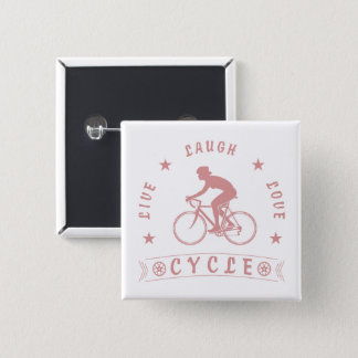 Lady's Live Laugh Love Cycle text (pink) 15 Cm Square Badge