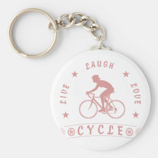 Lady's Live Laugh Love Cycle text (pink) Key Ring