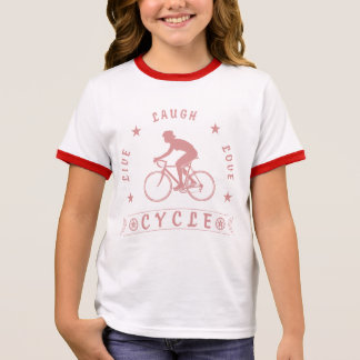 Lady's Live Laugh Love Cycle text (pink) Ringer T-Shirt