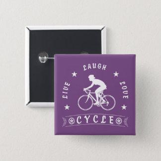 Lady's Live Laugh Love Cycle text (wht) 15 Cm Square Badge