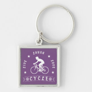 Lady's Live Laugh Love Cycle text (wht) Key Ring